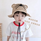兒童防曬遮陽帽男童草帽寶寶嬰兒太陽帽網眼夏季薄款漁夫帽大帽檐一米