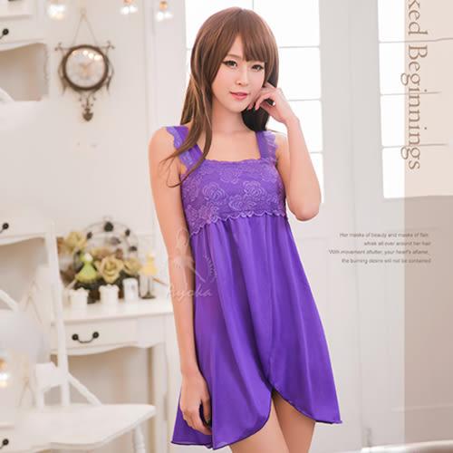 甜美誘人 性感情趣睡衣 蕾絲款 紫色蕾絲開襟二件式睡衣《SV7044》HappyLife