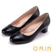 ORIN 典雅氣質 造型剪裁牛皮百搭粗中跟鞋-黑色