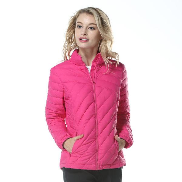 【聖伯納St. Bonalt】女-超輕可攜式羽絨外套(8097)-亮玫紅 防水 防風 保暖 戶外 收納 短版 時尚 修身