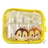 〔小禮堂〕迪士尼TsumTsum 奇奇蒂蒂 防水旅行盥洗包五件組《黃.大臉》空盒.空瓶.化妝包 4713213-00009