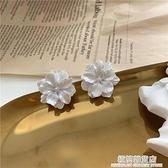 S925銀針 韓國氣質簡約白花法式優雅日系超仙純白花朵耳釘耳夾45 極簡雜貨