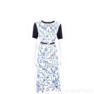 TORY BURCH Greer 輕薄美麗諾羊毛拼接藍白真絲短袖洋裝(附鬆緊腰帶) 2040379-20