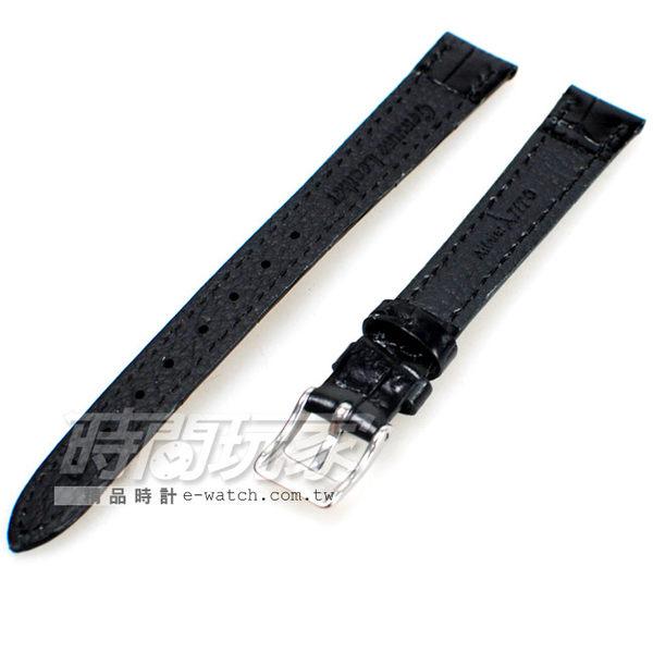12mm錶帶 真皮錶帶 黑色 錶帶 B12-DW黑竹