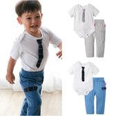短袖套裝 包屁衣 長褲 休閒褲 褲子 男寶寶 領帶造型 小紳士 2件套 Augelute 61132