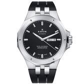 EDOX Delfin 海豚系列 專業200米日曆機械錶-黑/43mm E88005.3CA.NIN