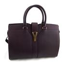 【奢華時尚】YSL 紫色牛皮金色Y字扣帶手提cabas包(九五成新)#24824