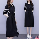熱賣大碼洋裝 夏季連身裙2021年新款女大碼女裝夏天韓版寬鬆燙鉆中長款短袖裙子 coco
