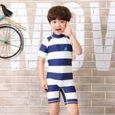 聖誕好物85折 新品兒童泳衣男童寶寶條紋水手速干抗UV防曬速干韓國連身泳裝