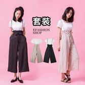 套裝-格紋可調吊帶雪紡寬褲+白T-eFashion 預【K17175900】