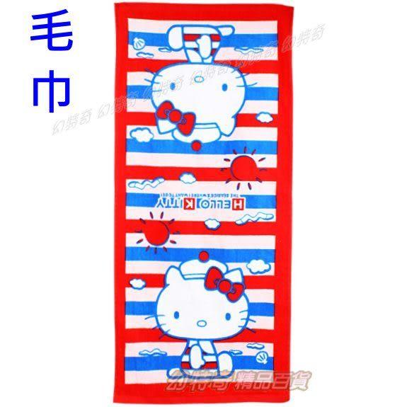 日本進口Hello Kitty海軍條紋長條毛巾小浴巾包巾766615【玩之內】
