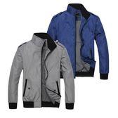 【美國熊】英倫風格 合身版型 顯瘦 騎士立領 內鋪薄棉 肩章夾克風衣外套 [ABDA-02]