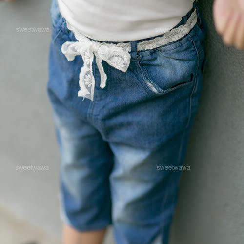法式織花腰帶造型褲管牛仔褲(230360)★水娃娃時尚童裝★