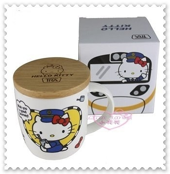 ♥小花花日本精品♥ Hello Kitty 新太魯閣號 咖啡杯 陶瓷杯 附木蓋 馬克杯 台灣製 11277200