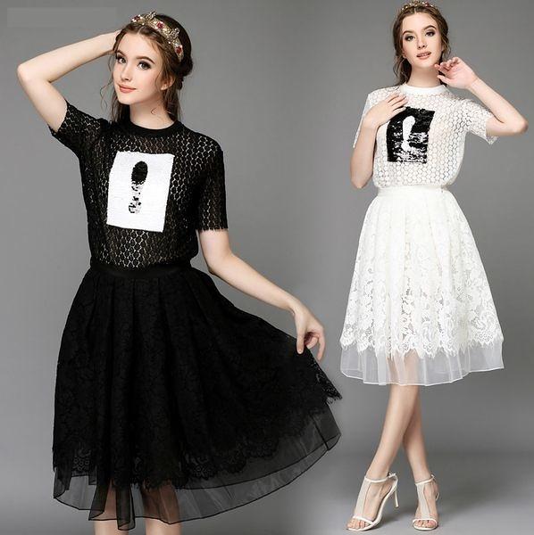 卡樂store...全尺碼大尺碼名媛氣質水溶蕾絲兩件套百褶裙 S-5XL 2色 #bl752