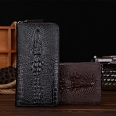 皮夾 長夾 鱷魚紋男士錢包長款拉鏈手包 潮男商務錢夾大容量手拿包 手抓包軟