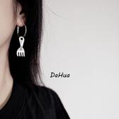 耳環 68338#韓國個性不對稱勺子叉子耳環幾何圓圈耳釘趣味俏皮學生耳飾D507快時尚