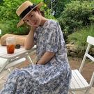 棉麻洋裝 韓系春夏復古花朵泡泡袖連身長裙 花漾小姐【預購】