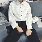 (全館免運) - 學生寬鬆格子長袖襯衫 (YY-029)