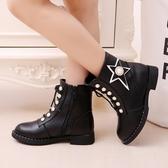 女童靴子秋冬2019新款韓版皮質公主短靴兒童馬丁靴小女孩加絨棉鞋 夢幻衣都