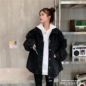 牛仔外套 秋裝年新款黑色牛仔外套女寬鬆韓版bf復古港風中長款夾克上衣 萊俐亞