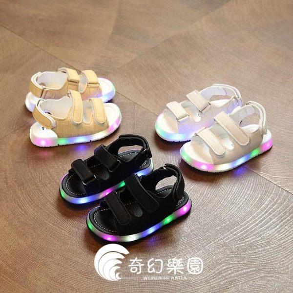 夏季韓版兒童涼鞋女寶寶軟底學步涼鞋閃燈鞋男童沙灘鞋-奇幻樂園