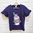 棒棒糖童裝(A50698)夏女童深藍色冰淇淋竹節棉花邊袖短袖上衣 17-25