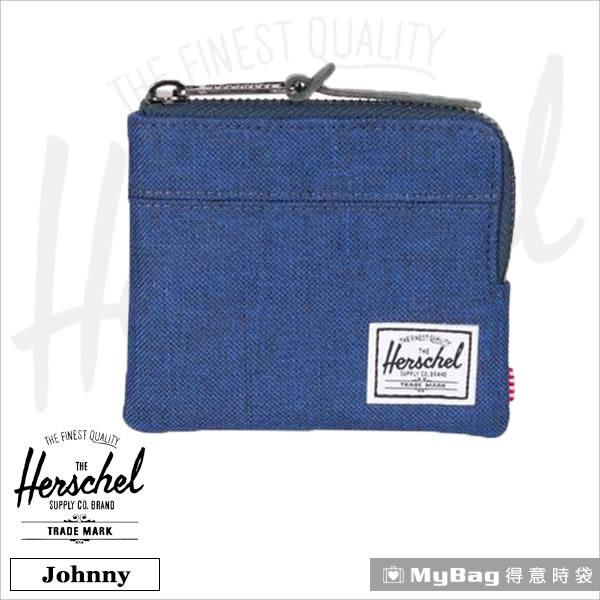 Herschel 皮夾 單寧布藍 經典拉鍊零錢包 Johnny-1335 MyBag得意時袋