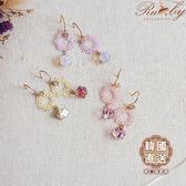 耳環 韓國直送花朵圓圈方塊水鑽垂墜耳環-紫色-Ruby s 露比午茶