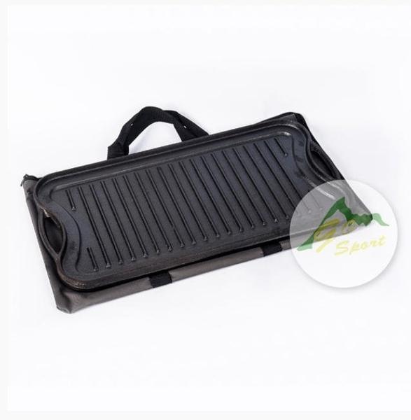 ||MyRack|| GO SPORT 40453 鑄鐵長方型烤盤 兩面雙用紋路烤盤 平面烤盤 鑄鐵煎盤 烤肉 野炊