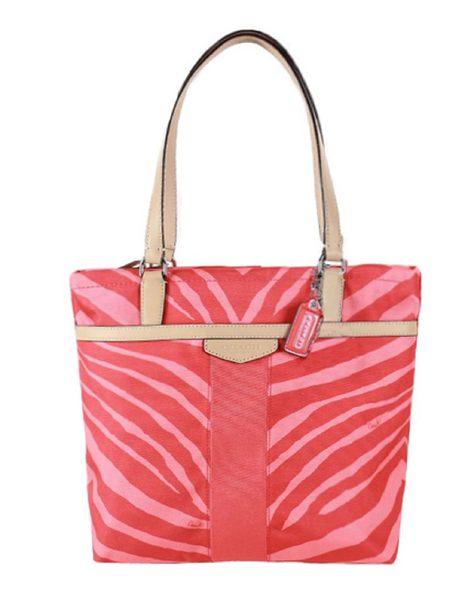 COACH 帆布漆皮飾邊托特包-桔色斑馬紋(現貨+預購)-電電購