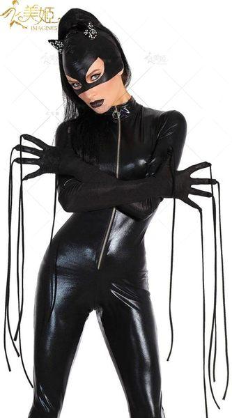 衣美姬♥黑色漆皮貓女郎 角色扮演 派對服裝 夜店俱樂部 萬聖節表演服