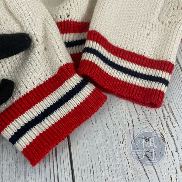 BRAND楓月 GUCCI古馳 白色 經典 紅色 深藍色 條紋 立體 針織 外套 毛衣 秋冬 長版 罩衫