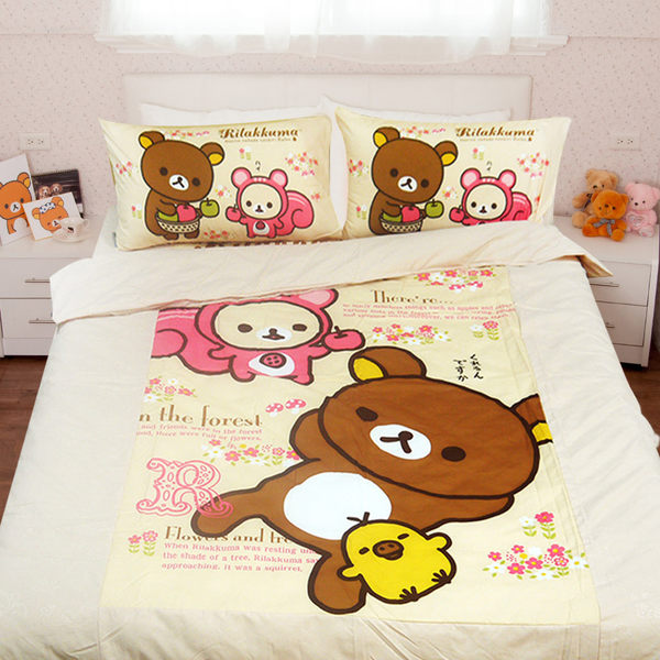卡通授權 San-x授權床包被套雙人四件式組-拉拉熊 蘋果森林