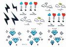薇嘉雅 閃電 鑽石 魚骨頭 紋身貼紙 K151