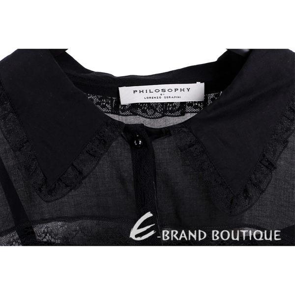 PHILOSOPHY 黑色棉料蕾絲襯衫式長袖洋裝 1620146-01