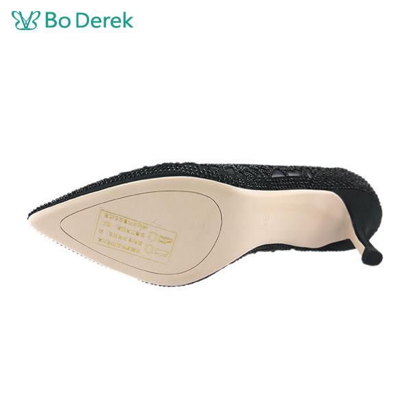 【Bo Derek 】尖頭水鑽透紗高跟鞋-黑色