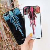 【SZ13】歐美潮牌馬塞洛翅膀 iphone XS MAX手機殼 iphone XS手機殼 iphone8 plus保護套 羽毛圖騰玻璃手機殼