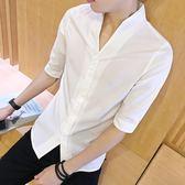 短袖襯衫男夏季男士修身款五分袖薄款襯衣青年帥氣潮流立領寸衫 愛麗絲精品