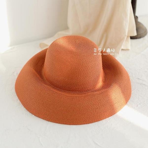 米蘭 草帽女夏天大檐出游防曬赫本風遮陽帽度假沙灘帽可折疊百搭帽子女