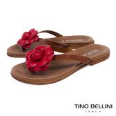 Tino Bellini 義大利進口立體花妍平底夾腳涼拖鞋 _ 紅 A83031 歐洲進口款