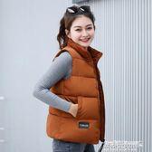 羽絨棉短款馬甲女韓版學生保暖外套女裝無袖棉背心潮    傑克型男館