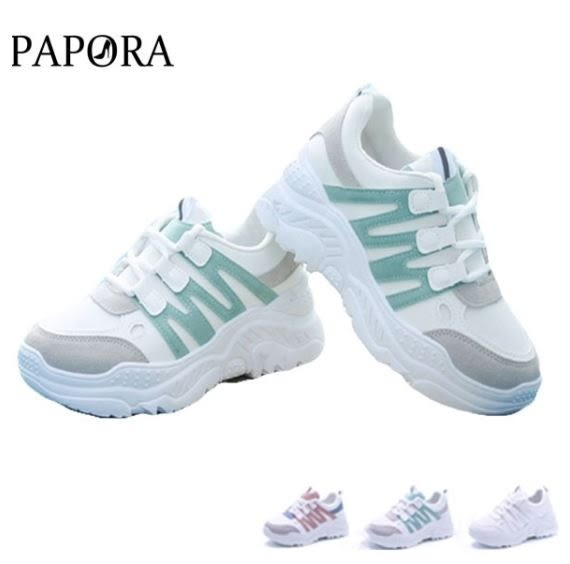 PAPORA足下流行綁帶厚底老爹鞋布鞋綠/白/粉(偏小2碼)K6664
