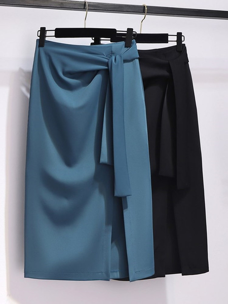 中長款半身裙及膝裙高級質感女西裝裙夏秋垂感職業裙子顯瘦高腰開叉一步裙包臀裙2021年新款