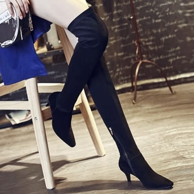 真皮過膝靴-時尚優雅百搭側拉鍊低跟女長靴73iv43[時尚巴黎]