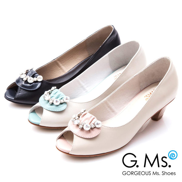 G.Ms.*MIT系列-牛皮魚口鑽飾粗跟鞋*黑色