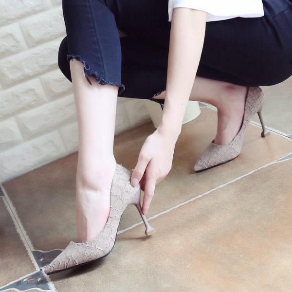 秋季細跟高跟鞋 女裂紋尖頭鞋【多多鞋包店】z2905