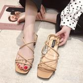 綁帶涼鞋春夏新款仙女風學生百搭中跟一字帶涼拖鞋 QQ21584『東京衣社』