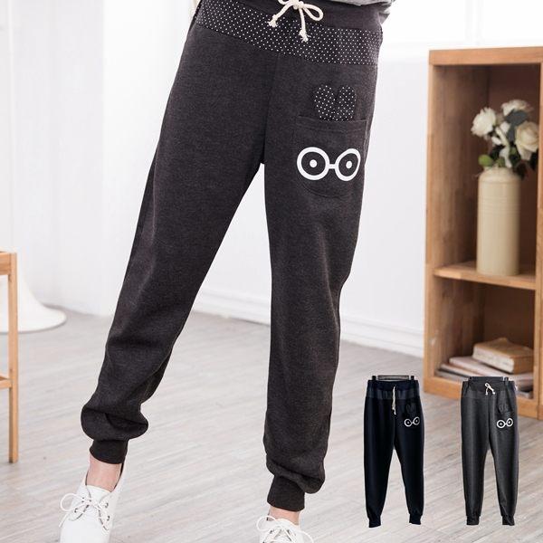 可愛穿搭  點點可愛兔子口袋休閒褲(XS-5L)onlyyou 中大尺碼 MIT台灣製 (B8002)