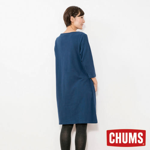 CHUMS 日本 女 LOGO 七分袖 長版洋裝 深藍 CH181057N001